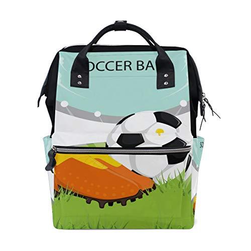Alinlo Wickeltasche mit Cartoon-Fußballmotiv, mit großer Kapazität, multifunktionaler Kinderwagen-Gurte, Mumien-Tasche, für Reisen und Babypflege