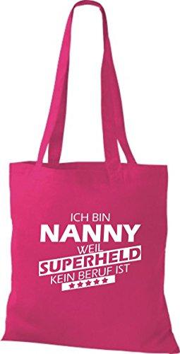 Shirtstown Stoffbeutel Ich bin Nanny, weil Superheld kein Beruf ist fuchsia