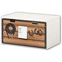 Preisvergleich für Stikkipix Pferdewelt Möbelfolie | BT38 | Möbelaufkleber mit Pferdewelt-Motiv | passend für die Kinderzimmer Banktruhe STUVA von IKEA (90 x 50 cm) Möbel Nicht Inklusive