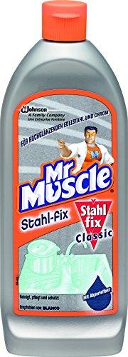 Mr Muscle Stahl-fix  Edelstahl-Reiniger, für hochglänzenden Edelstahl und Chrom, mit Abperleffekt, 1er Pack (1 x 200 ml)