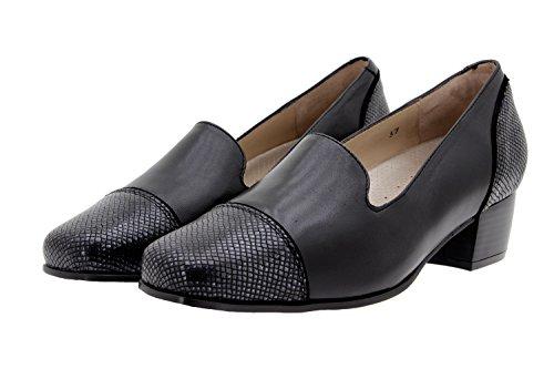 Chaussure femme confort en cuir Piesanto 9108 zapato mocasín confortables amples Noir