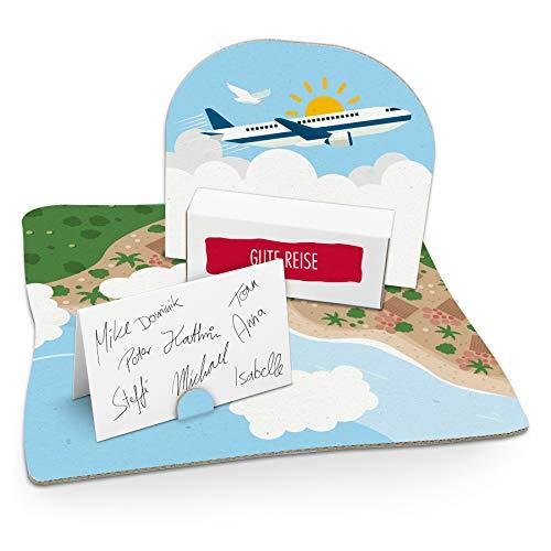 itenga Flugzeug Geldgeschenk Gastgeschenk Verpackung Reisekasse mit Bodenplatte, Geschenkkarte und Stickerbogen (Flugzeuge Koffer)