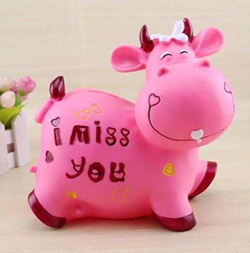 Banco de Dinero de Viaje Piggy Box Lovely Cow Piggy Bank Anti-Falling Large Capacity Money Bank (Vaca Rosada)