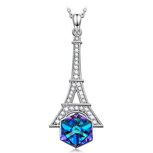 Kate lynn torre eiffel collana donna con pendente ciondolo blu cristalli swarovski gioielli idee regalo di compleanno natale per ragazza fidanzata amica