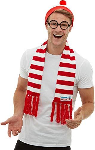Fancy Me Kostüm für Erwachsene, Herren und Damen, mit englischsprachiger Aufschrift Where Wally, Lizenziertes (Waldo Damen Kostüm)