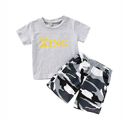1382c94697 Jimmackey Neonato Unisex Camicia Lettera Stampata Cime Manica Corta T- Shirt  + Camuffare Pantaloncini Abiti