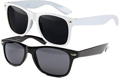 Ciffre 2 er Set EL-Sunprotect® Nerdbrille Brille Nerd Sonnenbrille Hornbrille Way Schwarz Weiß