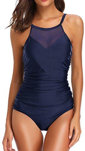 OLIPHEE Damen Schlankheits Badeanzug Raffung Einteiler High Neck Bademode Strandmode Blau-1 4XL
