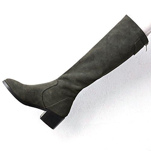 Khskx-no Little Bottes genou Bottes dhiver en velours avec chaud femelle Bottes hautes avec épais avec givré Cuir vert militaire