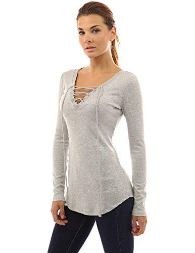 PattyBoutik femmes tunique cou V à lacets avec ourlet arrondi gris clair