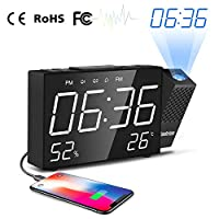 Cadrim Projection Alarm Clock With Big Snooze Button - Adjustable Brightness & Projection Distance 180°Angle FM Wake Up Alarm Clock
