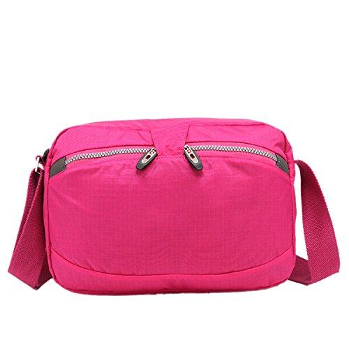 Densità Yy.f Sacchetto Impermeabile Sacchetto Del Messaggero Poliestere Sacchetto Di Spalla Di Modo Il Sacchetto Di Colore Solido Libero E Facile Da Trasportare Colore 2 Pink