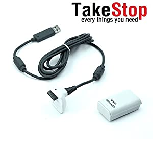 takestop® Akku und Ladekabel für Controller Joystick Joypad Xbox 360 Weiß Kit 4800mha
