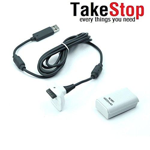 takestop Batteria e cavo di ricarica per Controller Joystick Joypad Xbox 360 bianco kit 4800mha