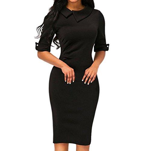 OVERDOSE Frauen Retro Bodycon Formale Büro OL Kleid Bleistift Kleid Zipper Damen Revers Business-Kleid Office Mini Dress(A-Black,EU-38/CN-L)
