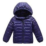Garçon Fille Enfant Doudoune Blouson Épaissir Manteau À Capuche Bleu Marine 110