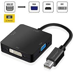 Hanmir 3 en 1 Mini DisplayPort Thunderbolt vers HDMI DVI VGA Adaptateur Câble Compatible avec Apple MacBook Air iMac Mac Pro Mac Mini Microsoft Surface Pro 1 Pro 2 Pro 3 Pro 4 Thinkpad etc Noir