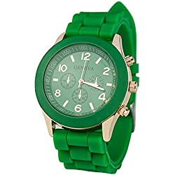 TOOGOO(R) Unisex Silicone Jelly Gel Quartz Analog Sports Wrist Watch Dark Green
