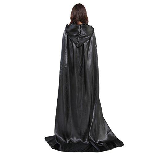 Damen Herren Halloween Umhang Karneval Fasching Kostüm Cape mit Kapuze Schwarz - 9