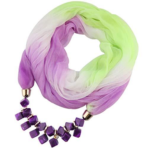 (Oliviavan Damen Halskette Schmuck Halstuch mit Abnehmbarer Anhänger Farben auswählbar Blumen Chiffon Schals für Damen Halskette mit Perlen Anhänger Gradient Schal Lätzchen 175 x 42CM)