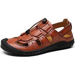 YAER Sandalias de Cuero de Los Hombres, Verano al Aire Libre Sandalias de Dedo del Pie Cerrado Zapatos de Playa (EU45, Marrón)