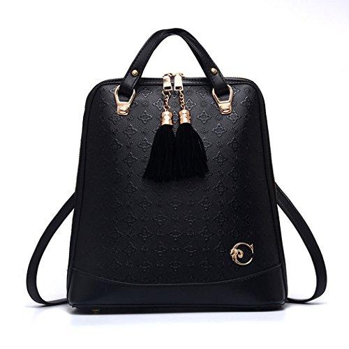 DEERWORD Damen Rucksackhandtaschen Schultertaschen Schulrucksack Tagesrucksack Laptoptasche Leder Schwarz