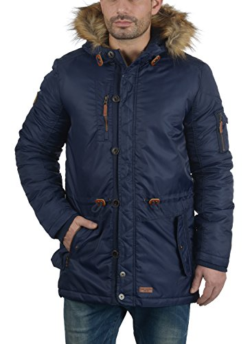 BLEND Eugen Herren Parka lange Winterjacke mit Kapuze und abnehmbaren Kunstfellkragen aus hochwertiger Materialqualität Navy (70230)