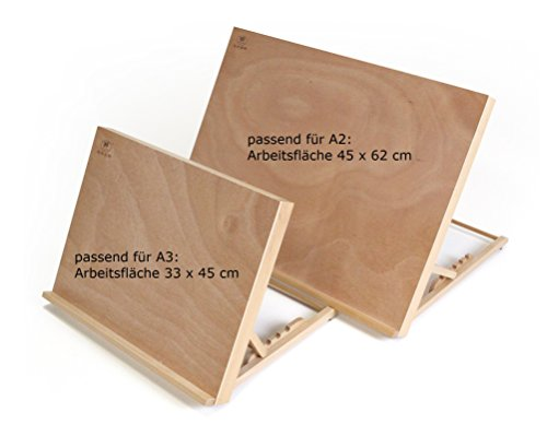Paintersisters-Neuss Tischstaffelei Zeichenbrett + Workstation Größe A3, Buchenholz