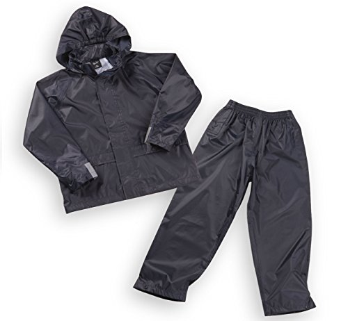 Boys Kids Childrens Waterproof Jacket Coat Trousers Pants Set Hooded Tracksuit Navy 9-10 Years