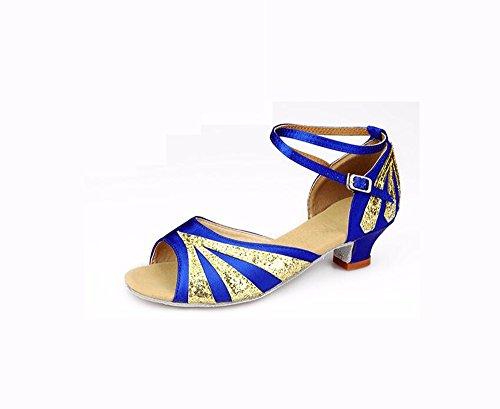 SQIAO-X- Dance Latina Girls Calzature scarpe da ballo donna scarpe pratica con fondo morbido Il blu