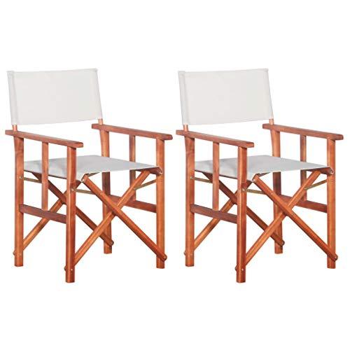 vidaXL - 2 sillas de Madera de Acacia Maciza para el Patio,...