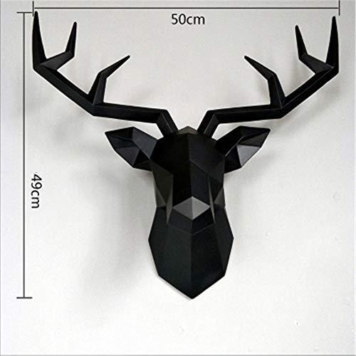 Mrncw Ins Nordic geometrischen Hirschkopf Wanddekoration hängen kreative Wohnzimmer Hintergrund Wand Tier dreidimensionale Anhänger Glück Hirsch hängende Wand C 50 cm X 49 cm