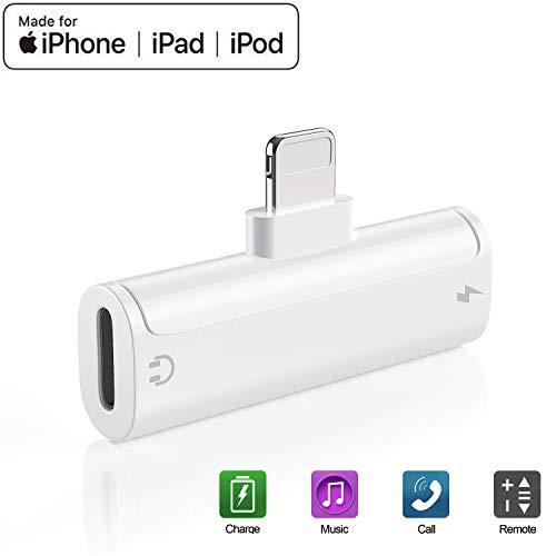 Adattatore per iPhone Adattatore per iPhone 7 Adattatore per iPhone X/XS/XR/8/8Plus/7Plus [Controllo volume audio] Supporto per convertitore di mini cuffie accessorio per tutti i dispositivi iOS