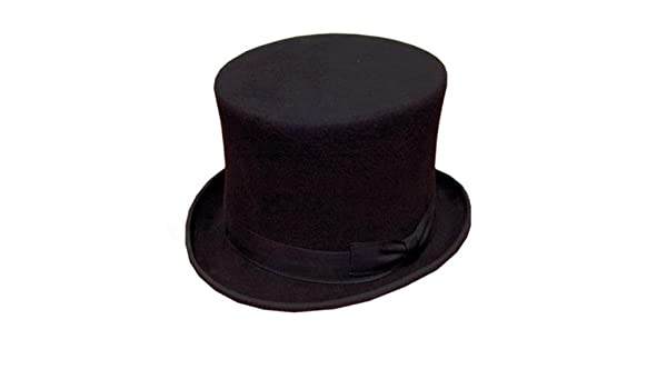 BLACK TOP HAT QUALITY WOOL FELT SIZE 56CM WEDDING ASCOT OLD ENGLISH OR VAMPIRE FOR HALLOWEEN