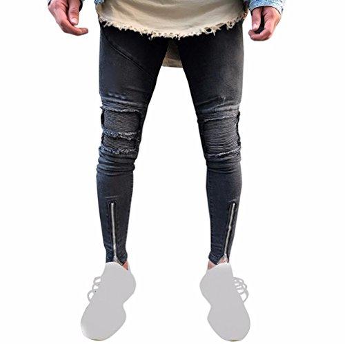 VENMO Herren Ripped Slim Fit Motorrad Vintage Denim Hiphop Streetwear Hosen Jeans Hose Japan Style Vintage Clubwear Hose straight leg gerade Passform vintage mit Kontrastnähte (Sexy Black, Size:36) (Denim Cordhose)