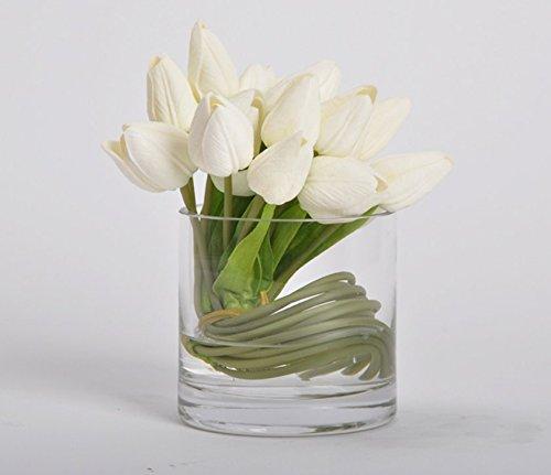 LLPXCC Flores artificiales Creativo la decoración del hogar mesa de comedor salón moderno sencillo unión flores decorativas Tulip flores artificiales baratos de plástico de poliuretano ramo de flores hogar verdadero toque decorativo de bodas flores blancas falsos