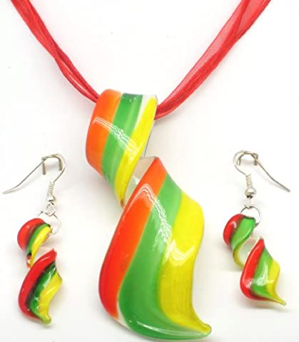 Orange, Green & Yellow Stripey Swirly Twirly Carnival Time Glass Pendant On A Red Multistrand Necklace With Matching Drop Earrings