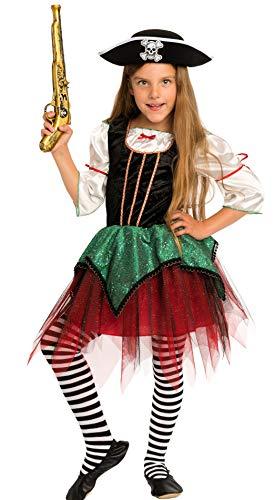 en Kostüm Kinder Mädchen rot-schwarz-grün Karneval Fasching - Piratin Kostüm Kinder Mädchen (140) ()
