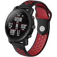 Zolimx Deporte Elegantes Cuero Pulsera Suave Silicona Correas de Reemplazo para Reloj Xiaomi Huami Amazfit 2/2S Smartwatch (Rojo)