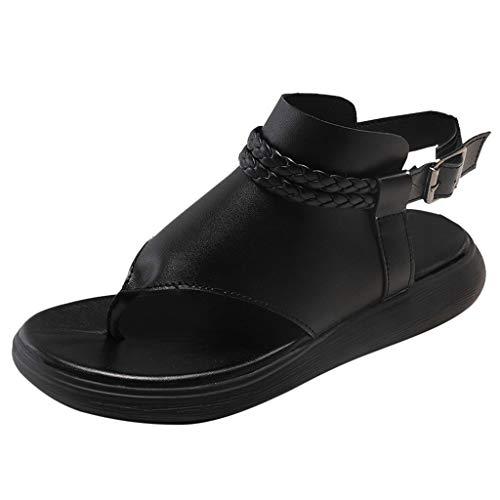 AIni Damen Schuhe Sommer Beiläufiges Flachboden Flip Flops Beiläufig Wilde Sandalen Strand Partyschuhe Freizeitschuhe(37,Schwarz)