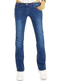 Bestyledberlin Damen Boot-Cut Jeans, Ausgestellte Hüftjeans, Stretch Slim Fit Schlaghose j33g
