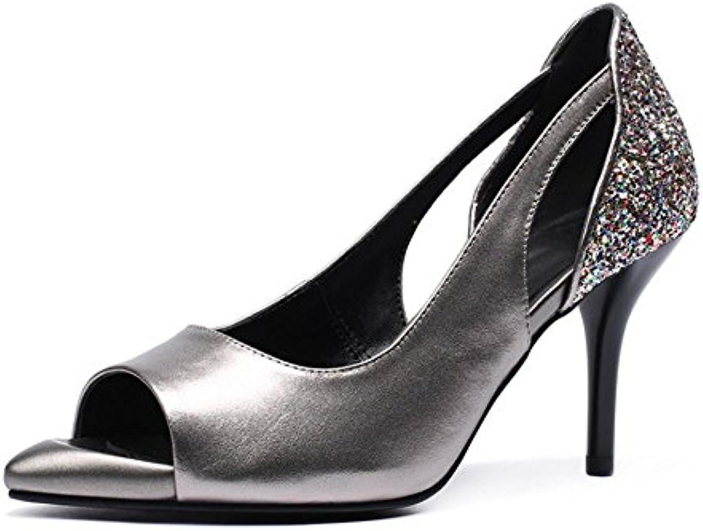 Chaussures en Cuir avec pour Femmes Fines avec Cuir des Chaussures Creuses Pointues élégantes Chaussures à Talons HautsB07FXT8Q5KParent ec290f
