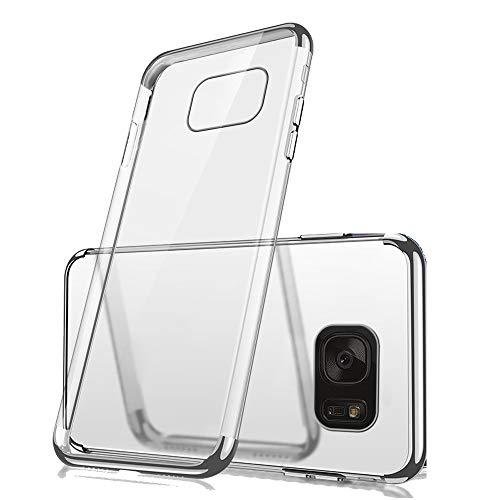 0968a27a79a Miagon Coque Placage pour Galaxy S7 Edge,Transparente Flexible Souple TPU  Gel Housse Étui Cadre