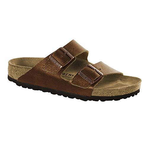 BIRKENSTOCK Arizona NL Washed Metallic Damen Sandaletten,Frauen Sandalen,Leder,glänzend,Vintage-Look,Orig Fußbett,Braun,EU 41N