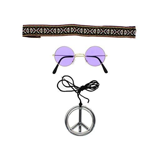Last Kostüm Minute Schnelle - Zac's Alter Ego®® - Kostüm-Set für schnelle Hippie-Verkleidung