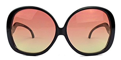 amashades Vintage Classics Übergroße Damen Sonnenbrille im Stil der 60er 70er Jahre Sixties Pantobrille o CY12 (Schwarz/Rosa Ombre)