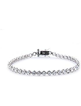 Silvity Damen Tennisarmband 38-39 Diamant-Strass 925 Silber 19cm 101102-20