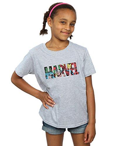 Marvel Comics Niñas Logo Character Infill Camiseta...