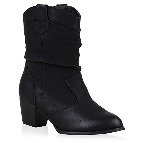 Damen Stiefeletten Cowboy Boots Holzoptikabsatz Stiefel Schlupfstiefel Blockabsatz -