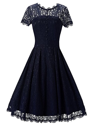 ipretty-womens-dress-a-line-dresses-scroop-neck-lace-shirt-casual-party-wedding-dress-blue